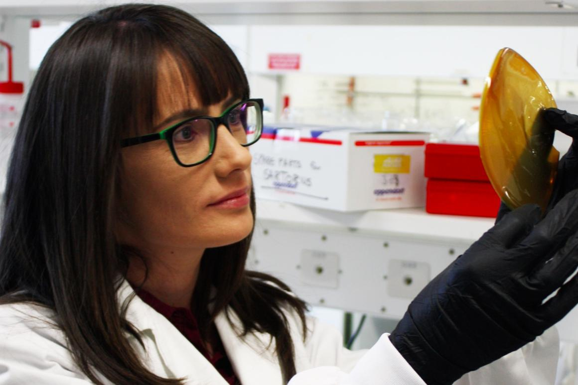 Dr. Cara Doherty examining one of the membranes