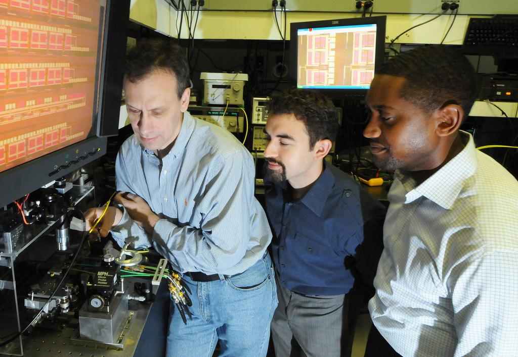 IBM Scientists (L to R) Yurii Vlasov, William Green and Solomon Assefa have unveiled a new chip technology that enables computer chips to communicate using pulses of light