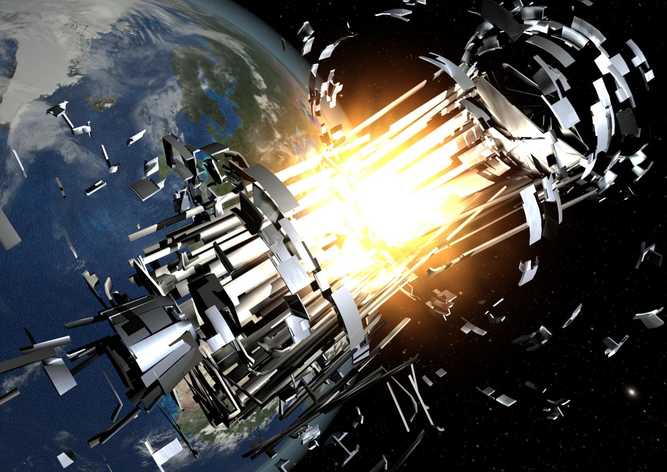 Representation of a satellite being destroyed by collision with orbital debris (Image: ESA)