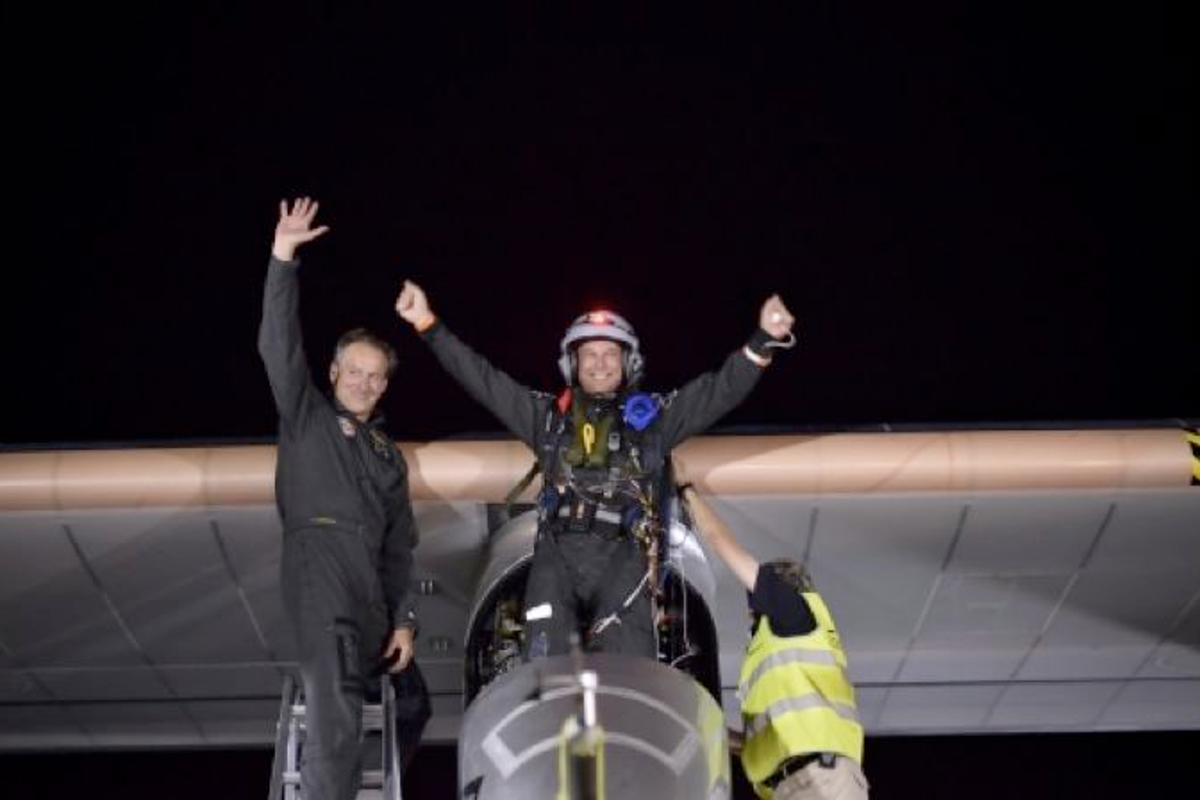 Pilot Bertrand Piccard, emerging from the Solar Impulse in Morocco (Photo: Solar Impulse)