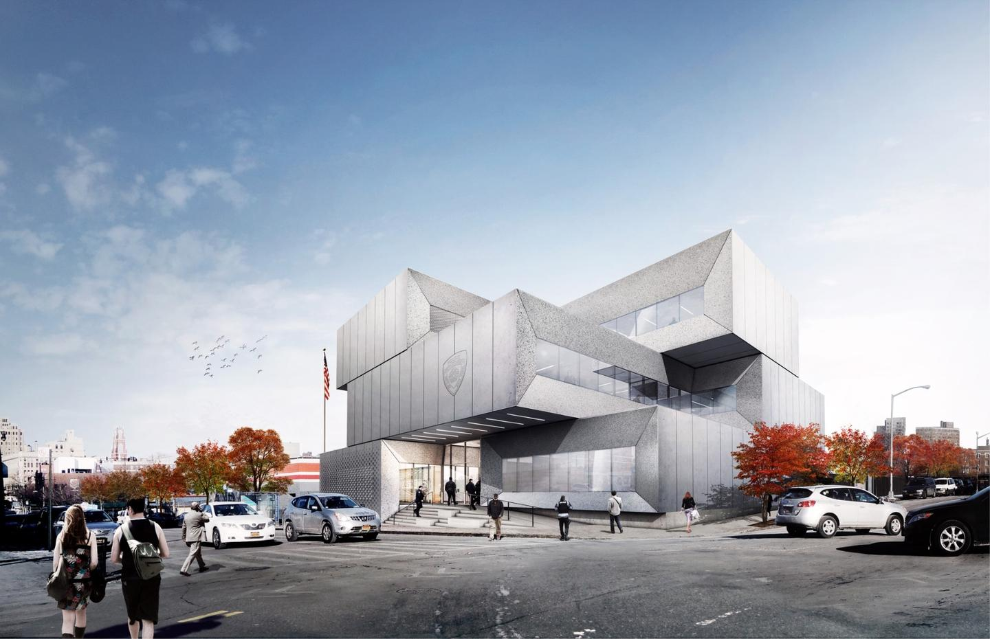 The 40th Precinct Station comprises a series of stacked block-like volumes