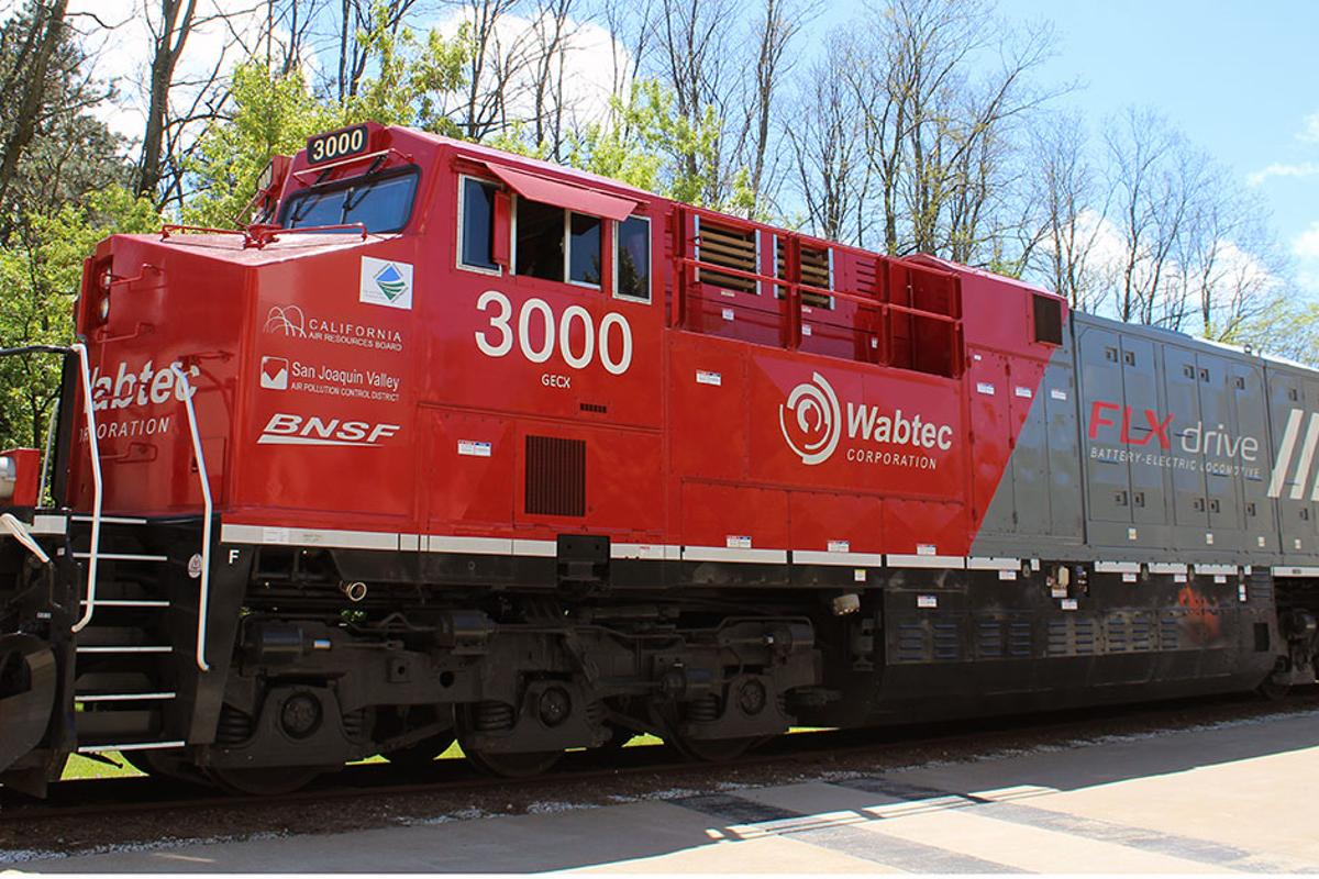 Wabtec's FLXDrive locomotive is described as the world's first 100-percent battery-powered locomotive