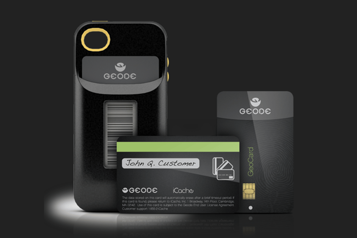The Geode comes with a removable card for debit and credit card purchases, in addition to an e-ink display to emulate loyalty cards