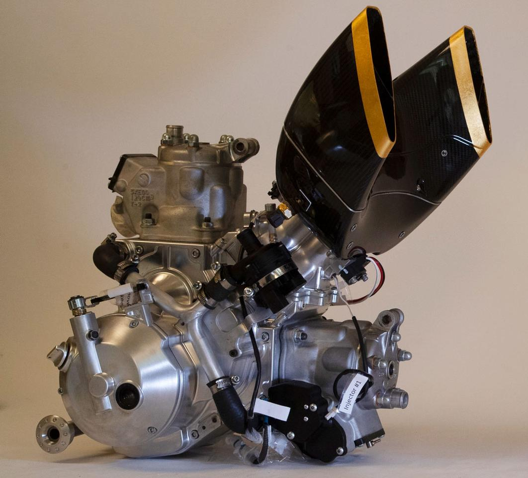 Vins provides the 250cc 2-stroke engine, a 90-degree v-twin with CNC-machined engine casings and an impressive 80 horsepower