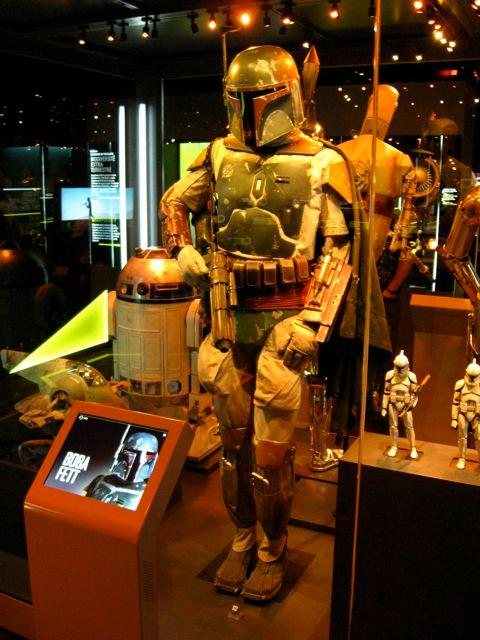 The Boba Fett costume, as worn by actor Jeremy Bulloch in Return of the Jedi – the character was originally intended to be part of an elite band of stormtroopers, so the first costume was initially all-white