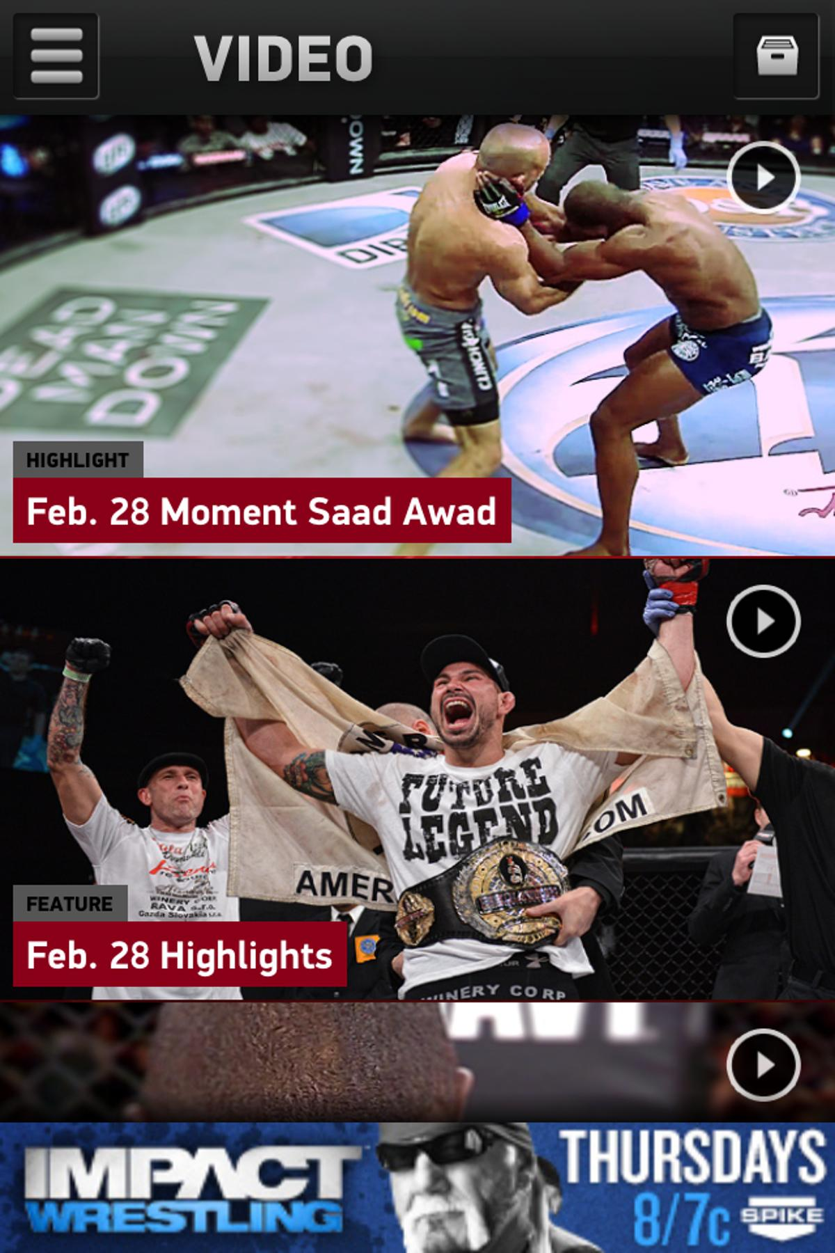 The Bellator MMA application