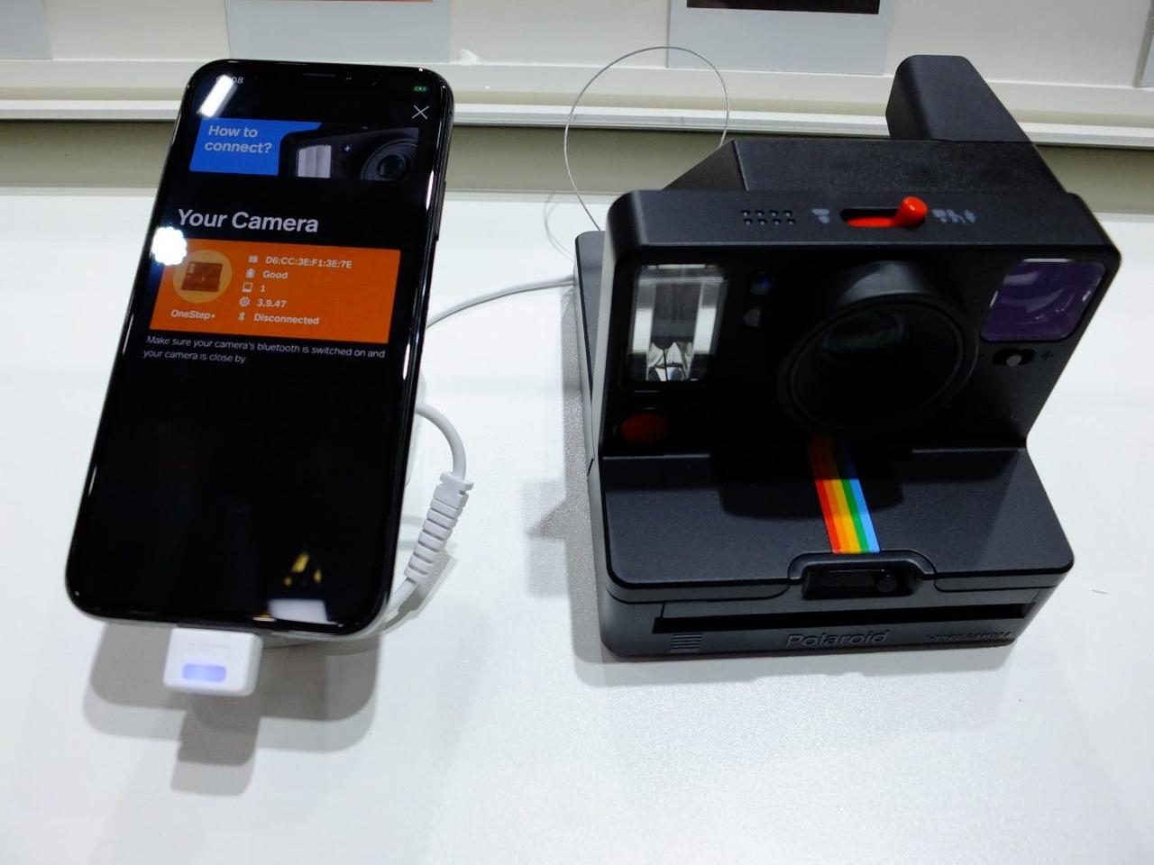 The smartphone-controlled Polaroid OneStep+, on display at IFA 2018