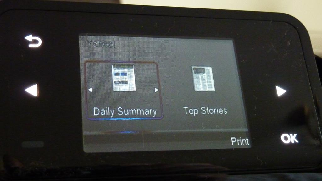 The Yahoo App on the HP Photosmart Wireless All-in-One B110