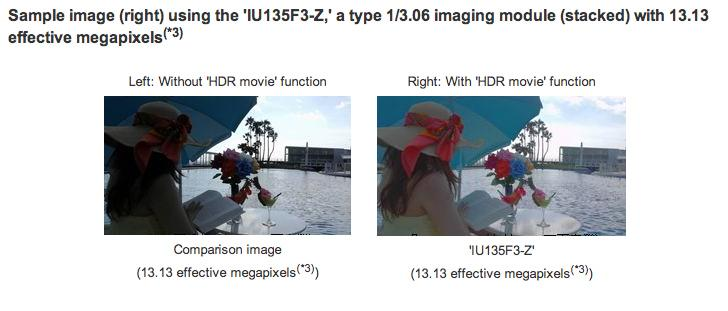 The Sony Exmor RS image sensors HDR movie mode records two different exposure conditions to generate images with a wide dynamic range and brilliant colors