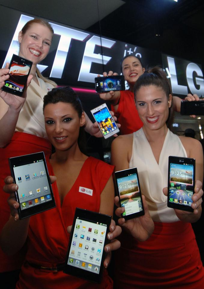 LG Optimus Vu: (bottom left), LG Optimus 4X HD (bottom right), LG Optimus 3D Max (top right) and LG Optimus L7 (top left)