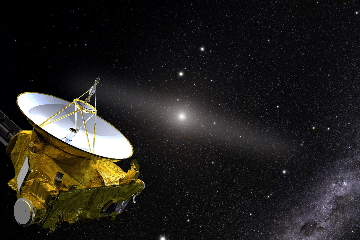 An artist's illustration of New Horizons, beyond the glow of the inner solar system (center)