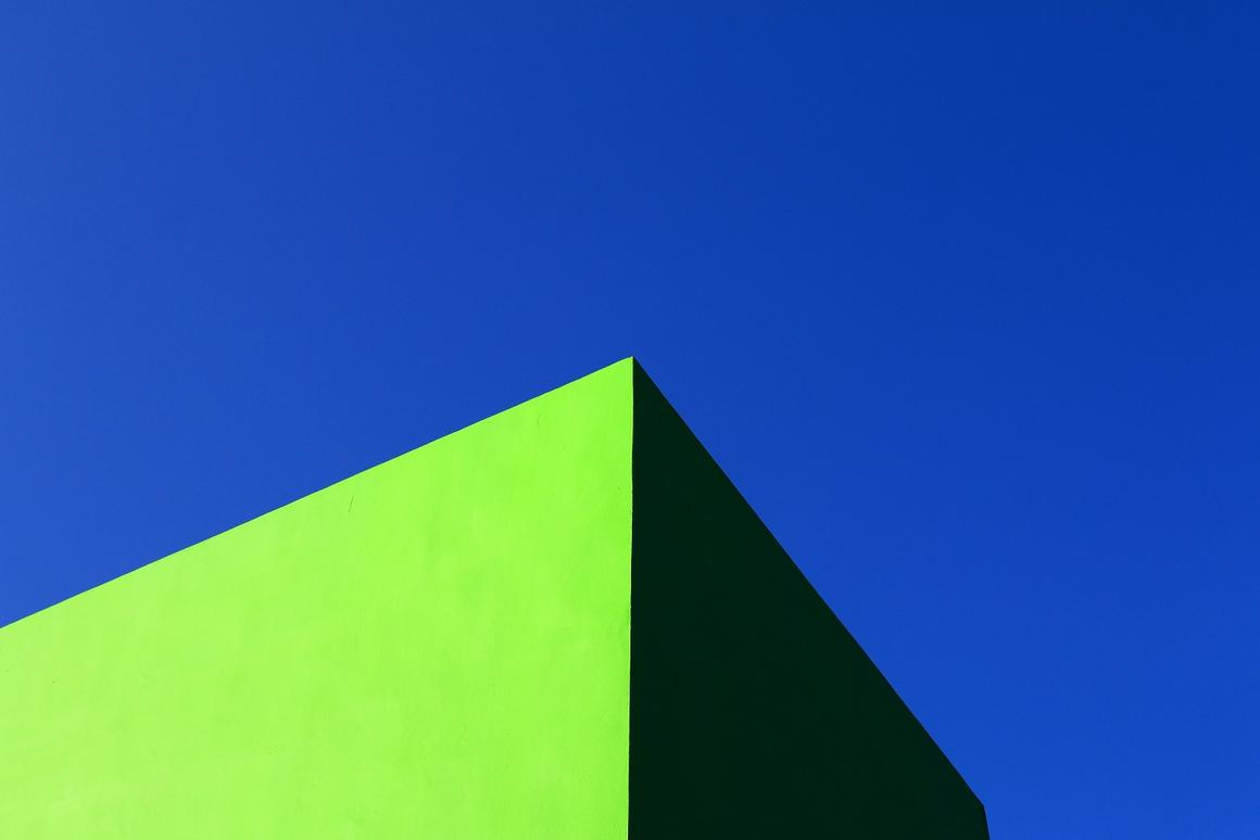 We love the clean lines ofthis brightgreen building against a veryblue sky