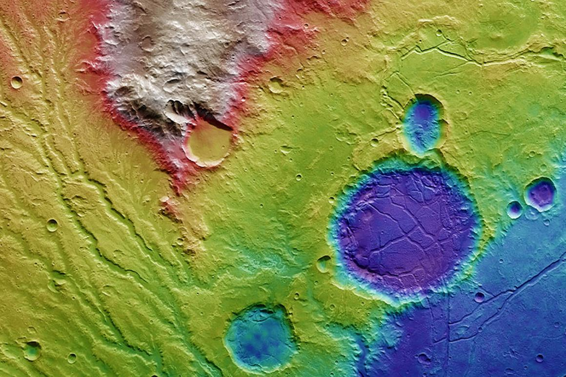 The imagery is presented as topographic view of the landscape, with red and white representing the highest points of terrain, while blues and purple tones indicate lower areas