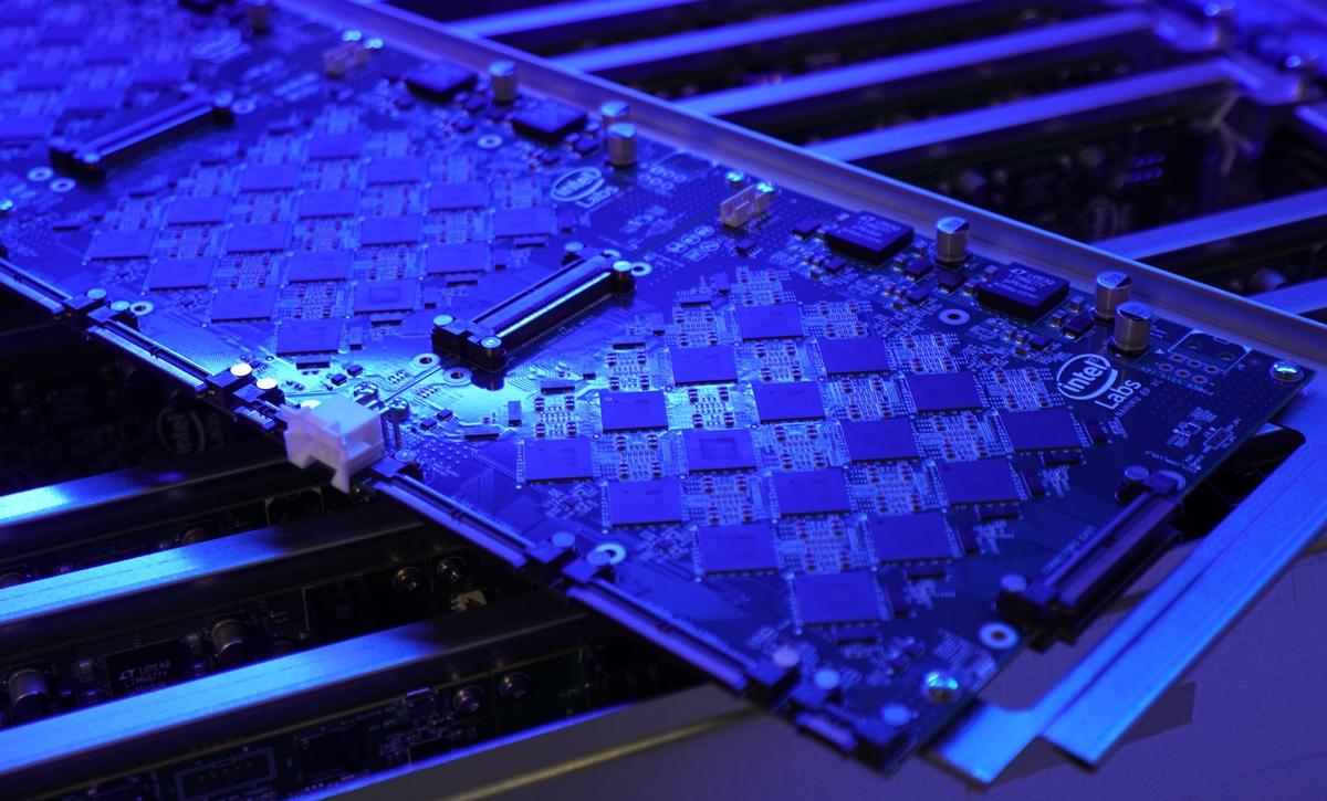 One of the rows of Loihi chips that make up Intel's latest neuromorphic research system, Pohoiki Springs.