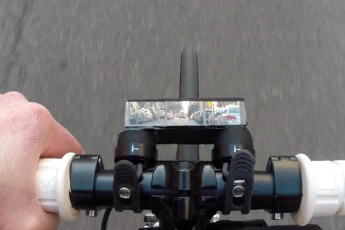 The Pedi-Scope lets riders rest their neck while still seeing what's on the road ahead