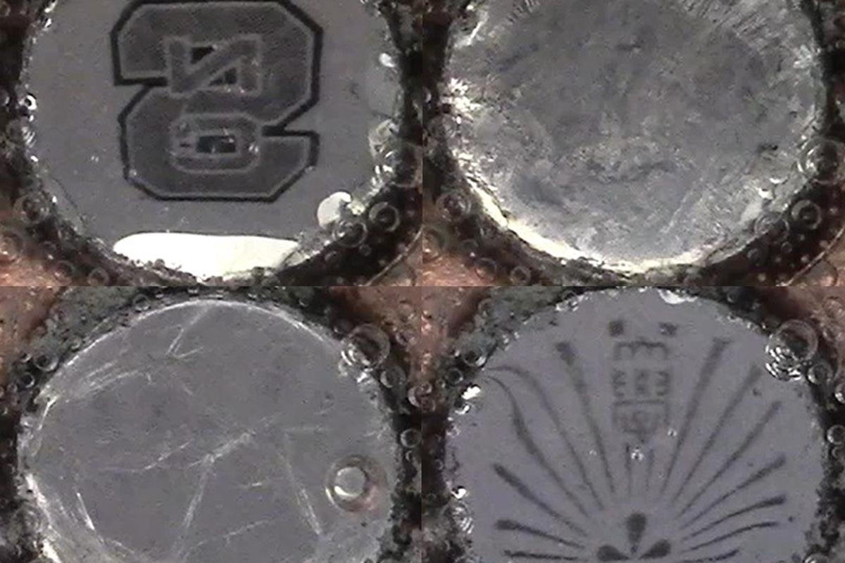 Samples of the liquid metal in its reflective state (top left/bottom right) and scattering state (top right/bottom left)
