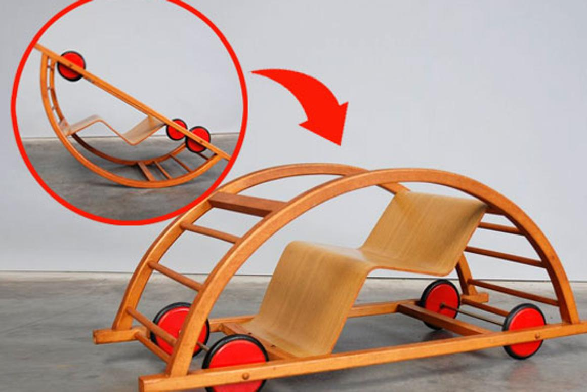 Schaukelwagon is a 1950s German toy that transforms from a racing car to a rocking chair for double the fun