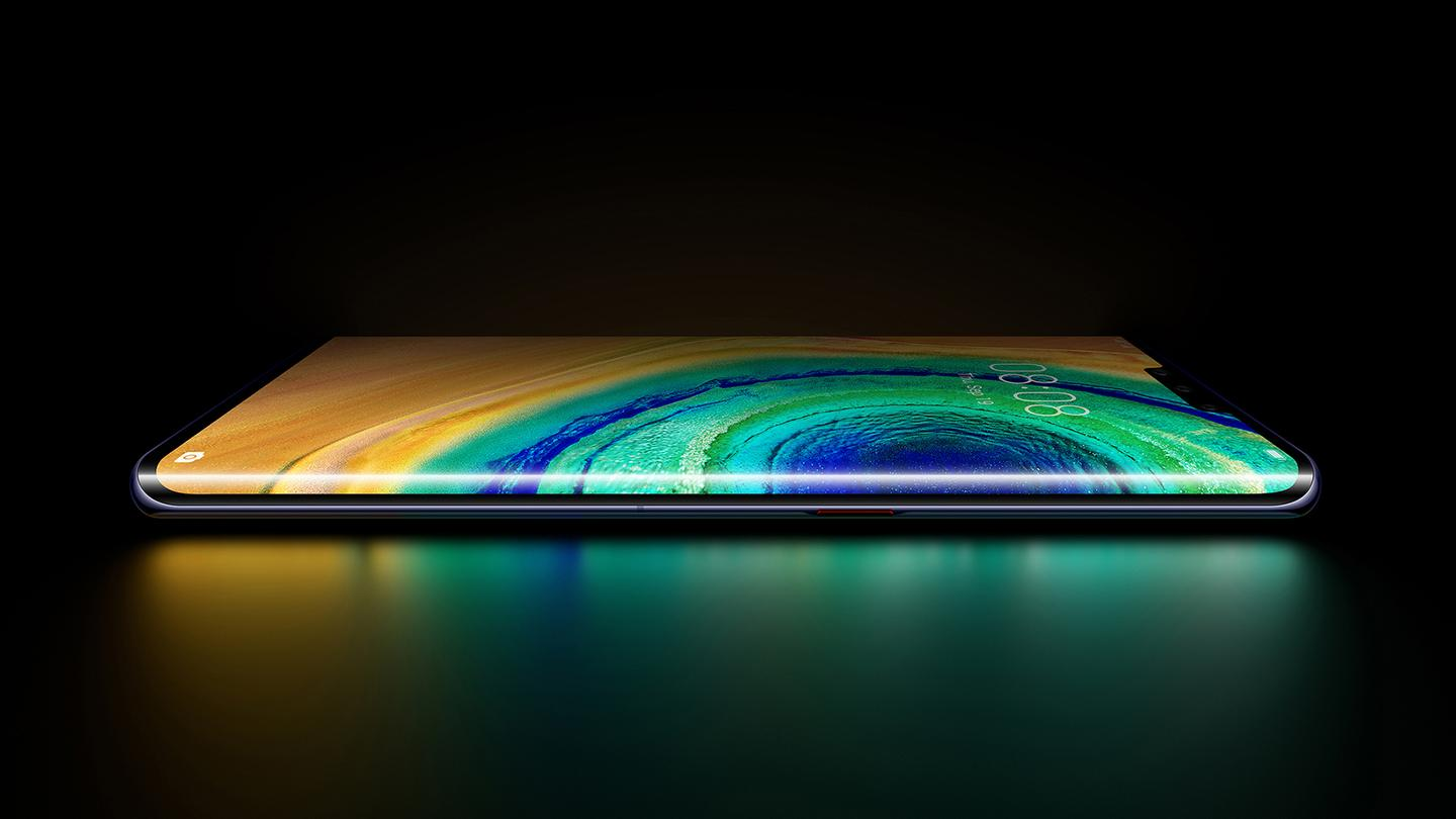 The Huawei Mate 30 Pro features a screen that wraps around the sides of the handset