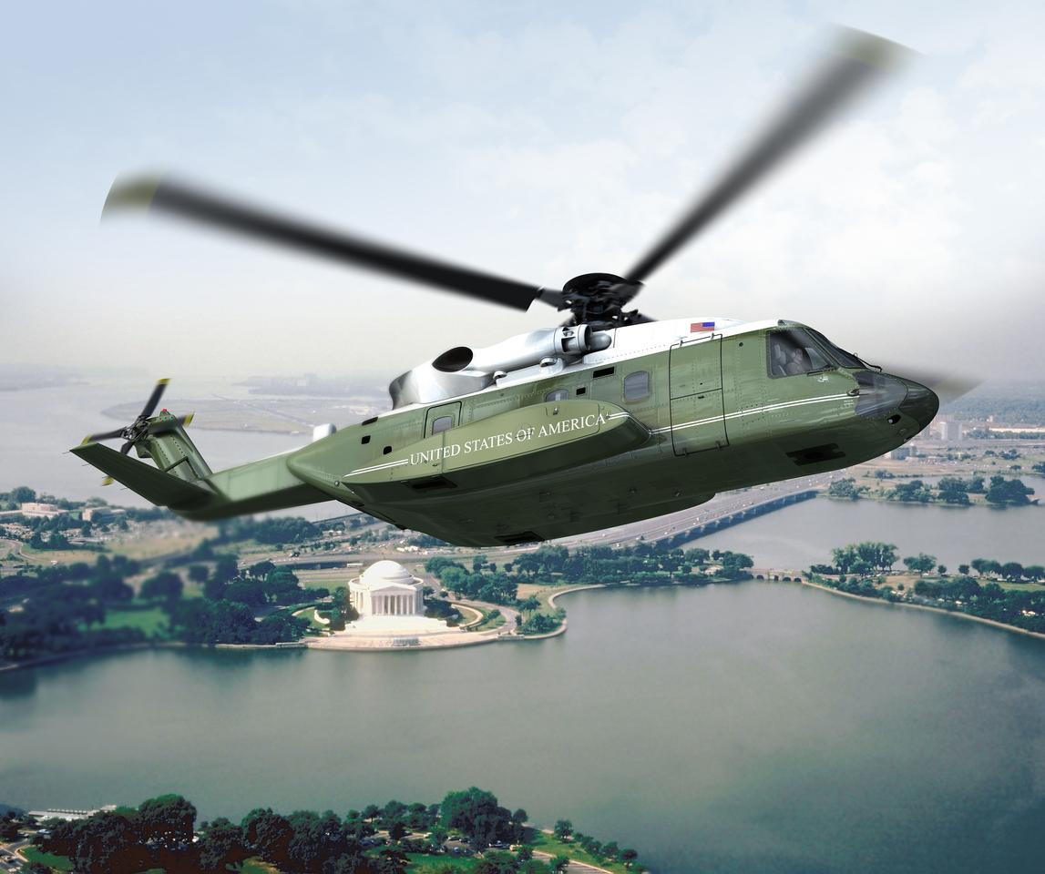 Rendering of the VH92, which is based on Sikorsky's dual-engine, medium-lift S-92