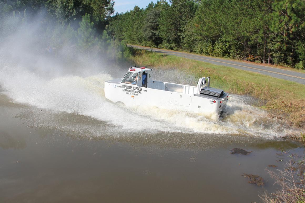 The Amphibious Responder was designed to transport rescuers and materials into disaster zones