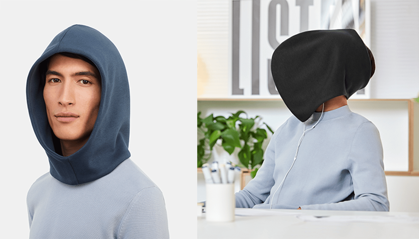 The Ostrich Pillow Hood can be worn backwards for some reason