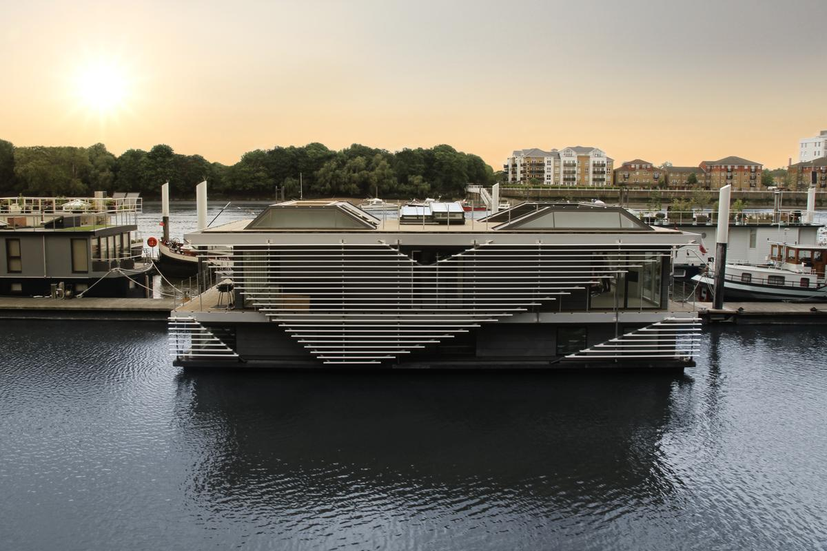 "Inachus"" is a two story house boat that more appropriately resembles a hi-tech floating mansion"