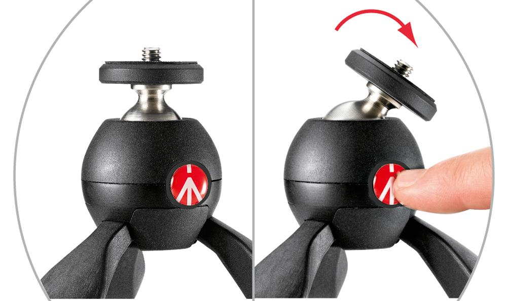 A push-button mechanism (the red Manfrotto logo) is used to allow movement of the Pixi ball-head