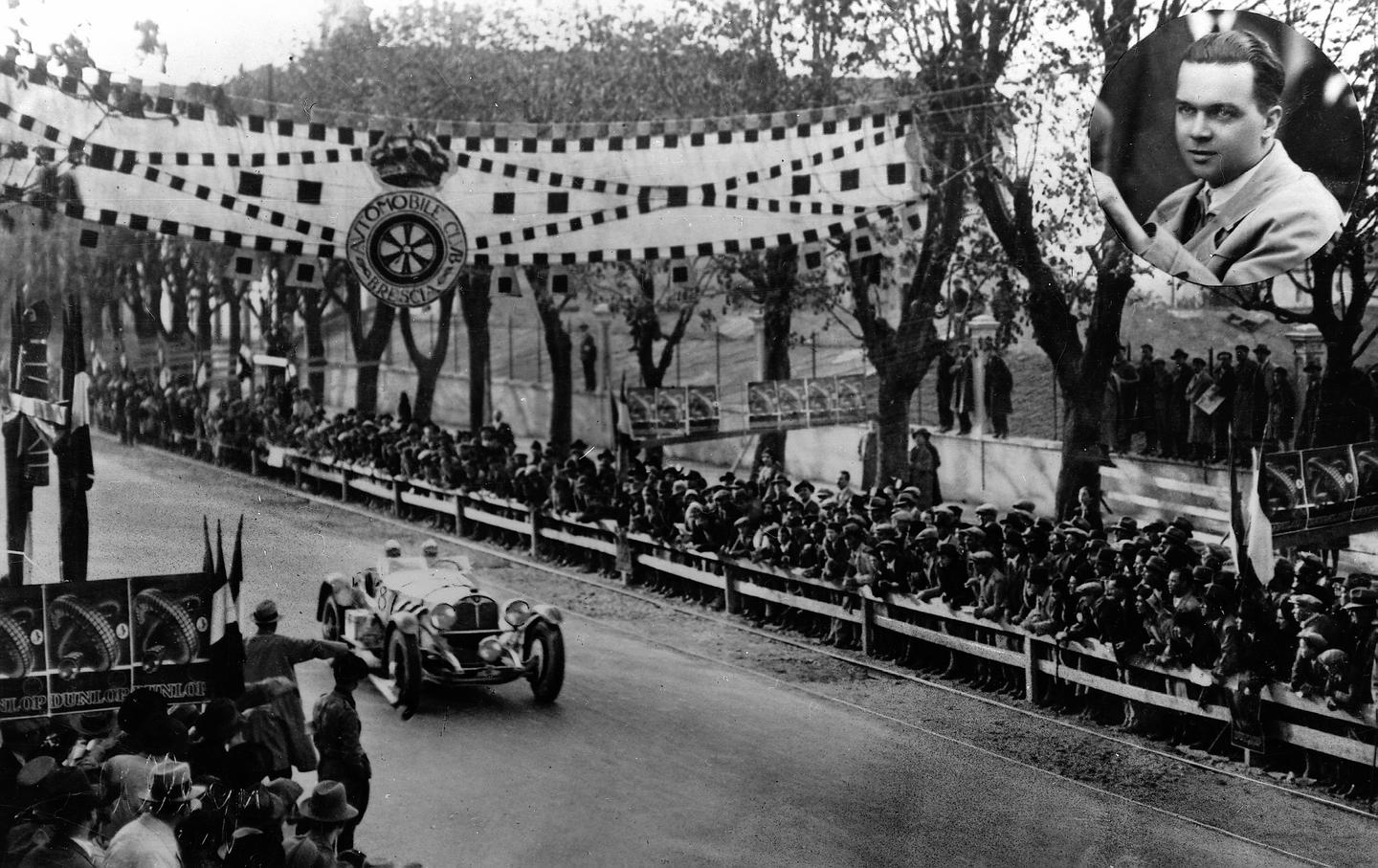 ´Rudolf Caracciola crosses the finish line in the 1931 Mille Miglia´, the 1,000-mile race starting in Brescia on April 12, 1931 and finishing in Brescia on April 13, 1931. It is the first time that a foreigner had won the famous Italian race.