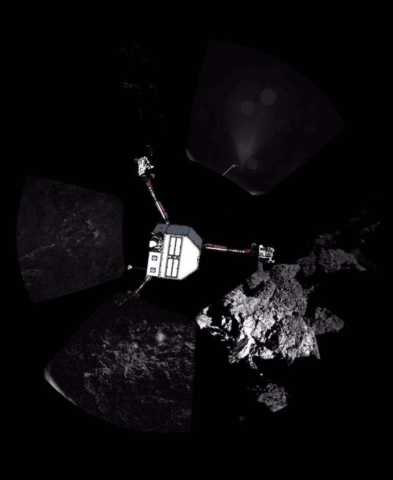 Panoramic image of Philae landing site with lander sketched in
