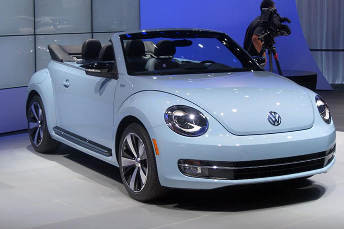 The 2013 Volkswagen Beetle Convertible 60s Special Edition on the floor at the LA Auto Show