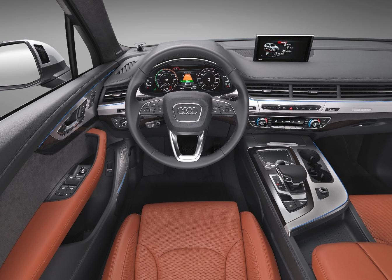 Inside, the 2017 Audi Q7 is well-outfitted with good materials quality and an elegant design