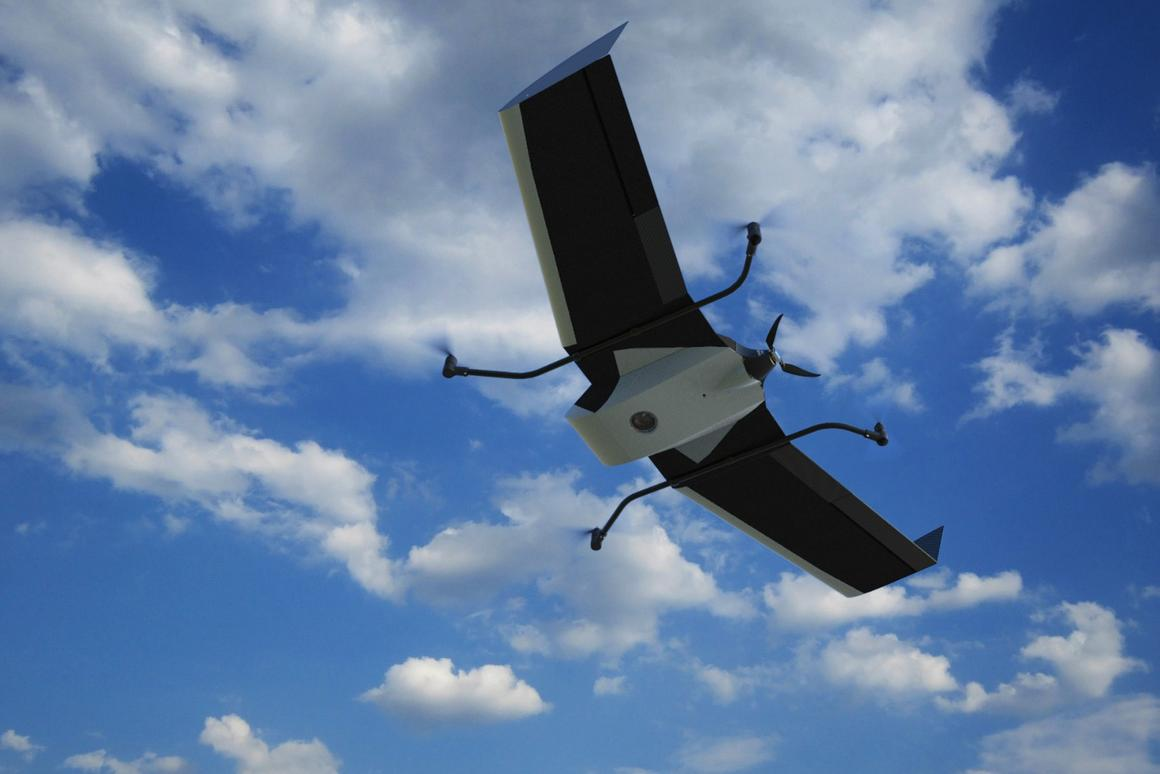 The Birdie drone with its VTOL module – in fixed-wing flight mode, it can remain airborne for up to one hour
