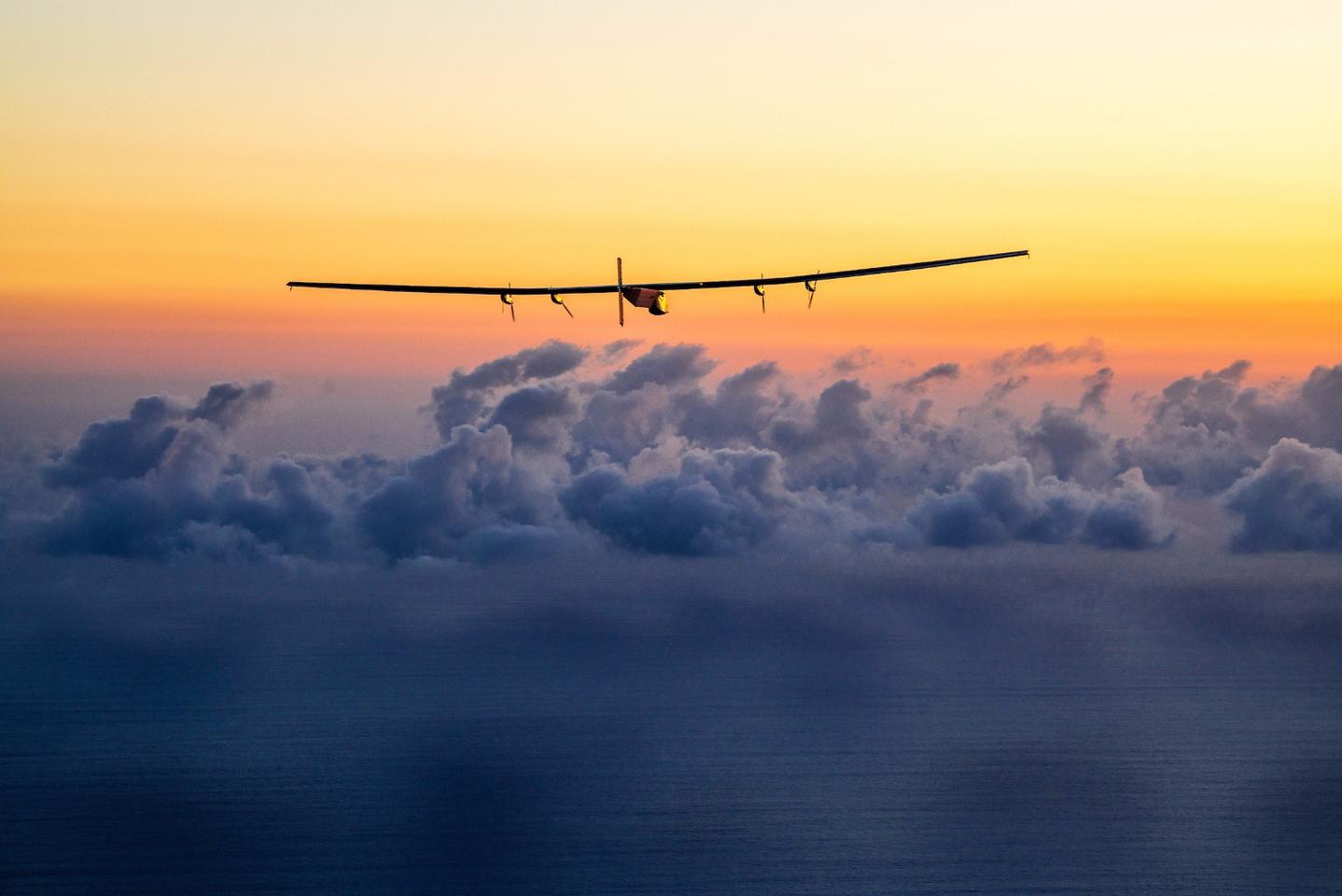 The Solar Impulse 2 solar-powered aircraft, seen during its circumnavigation of the globe
