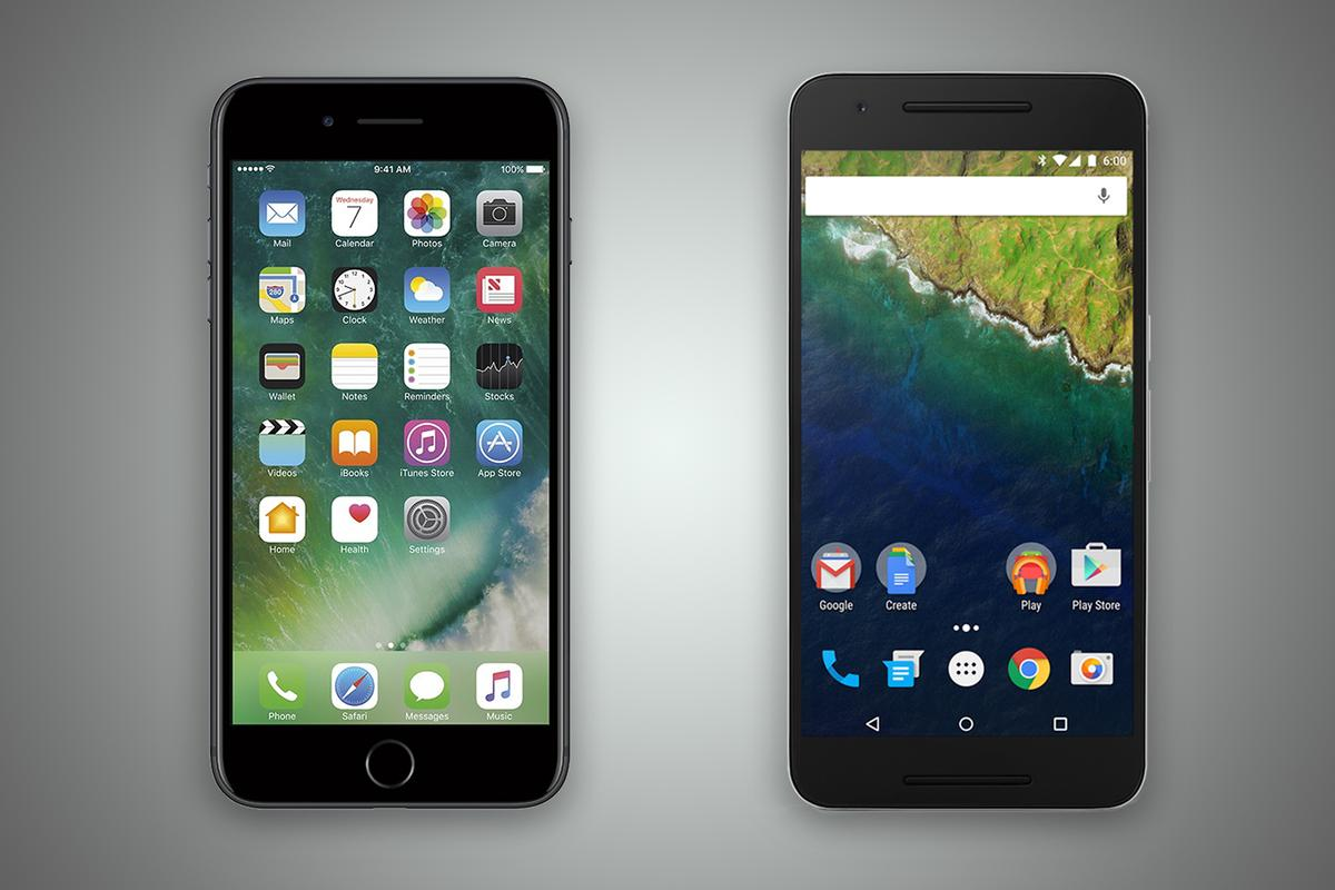New Atlas compares the features and specs of the iPhone 7 Plus (left) and Google/Huawei Nexus 6P