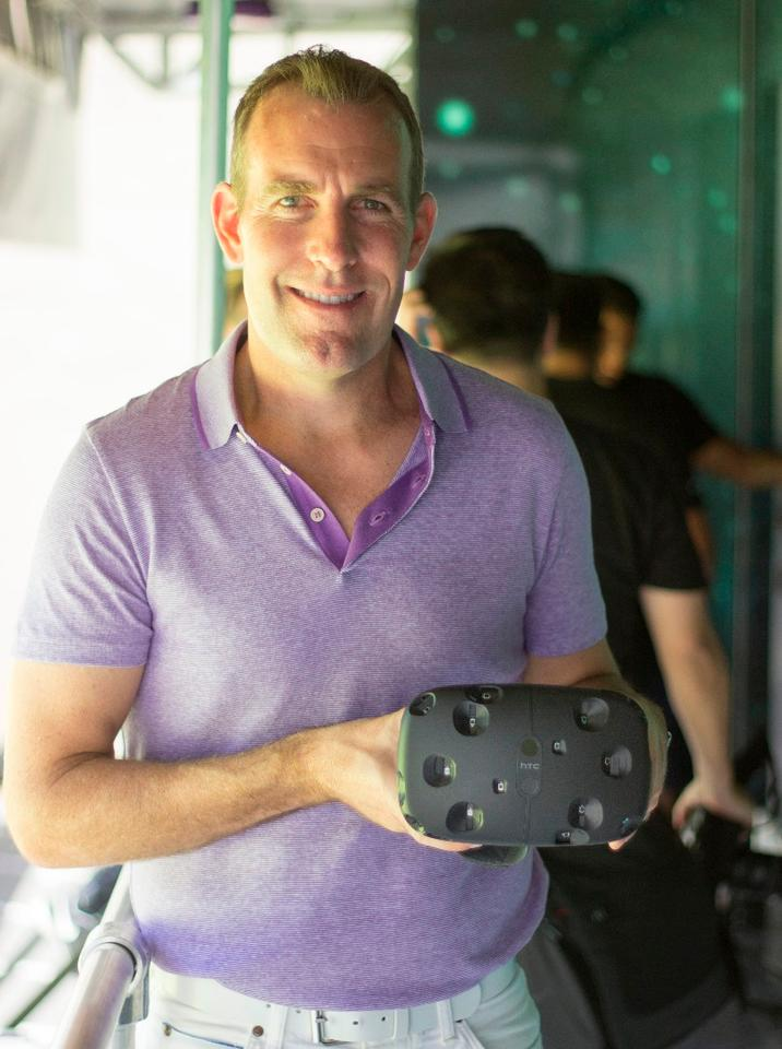 HTC's Executive Director of Global Marketing Jeff Gattis showing off the Vive