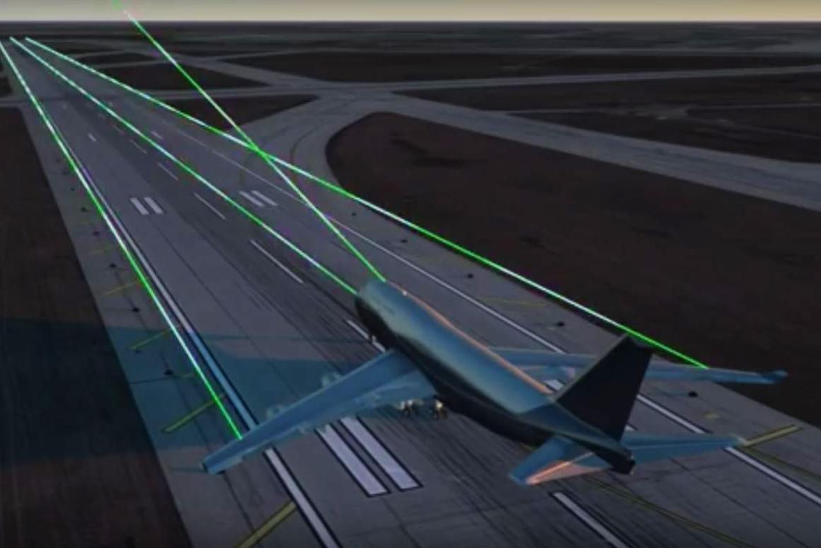 The ALTACAS system uses lasers to scan the area ahead of an aircraft to warn of potential collision hazards