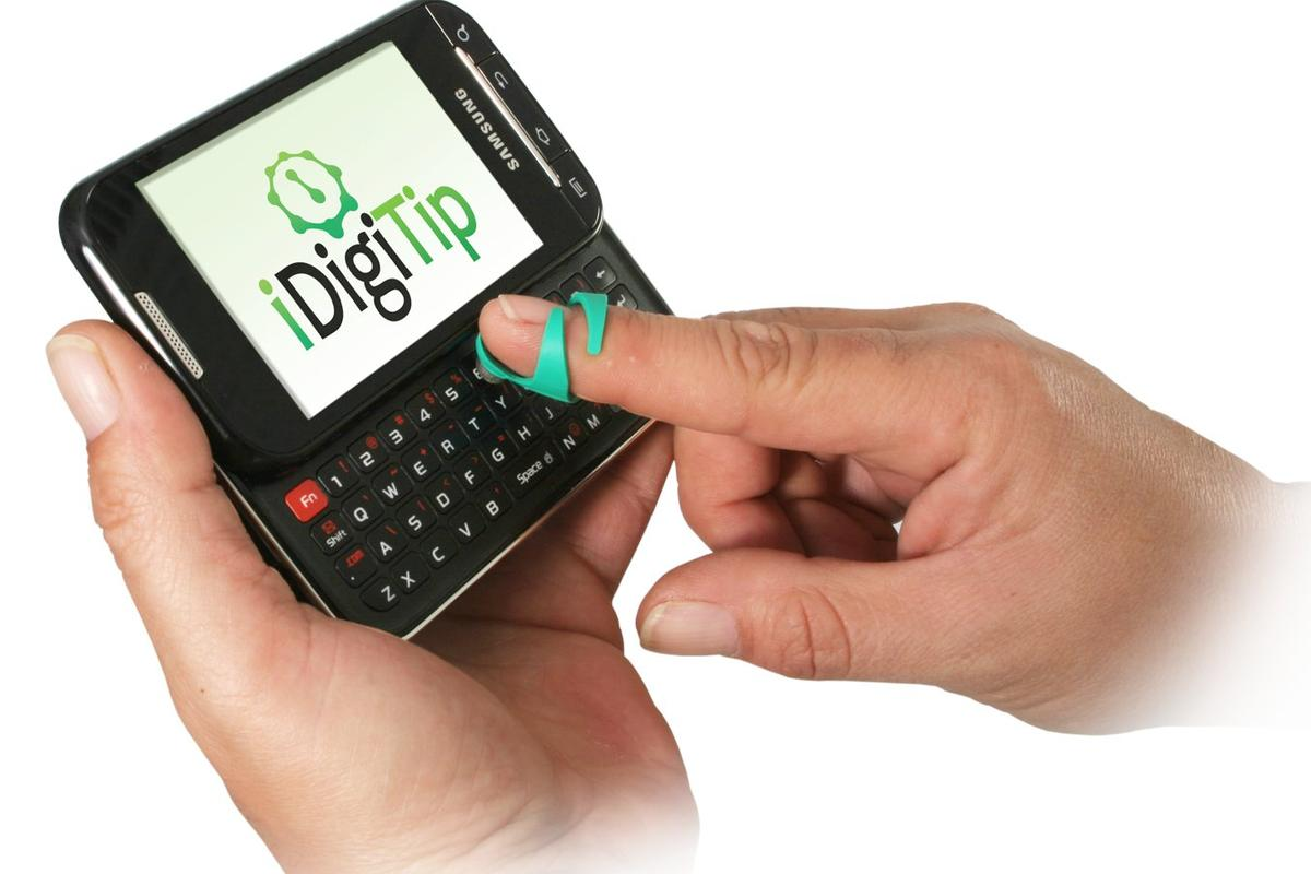 The iDigiTip is a stylus that is worn on the finger or thumb