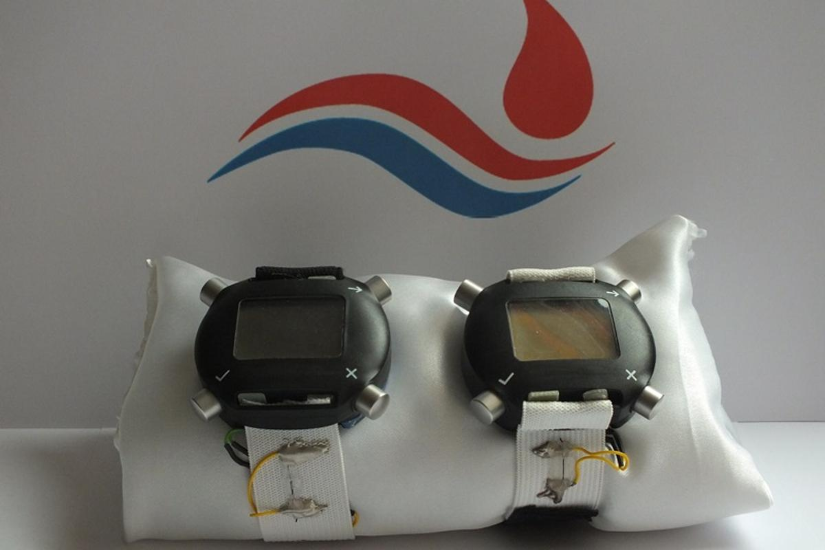 """Initial prototypes of the """"blood pressure watch"""" with the strap made from piezo-resistive fibers"""