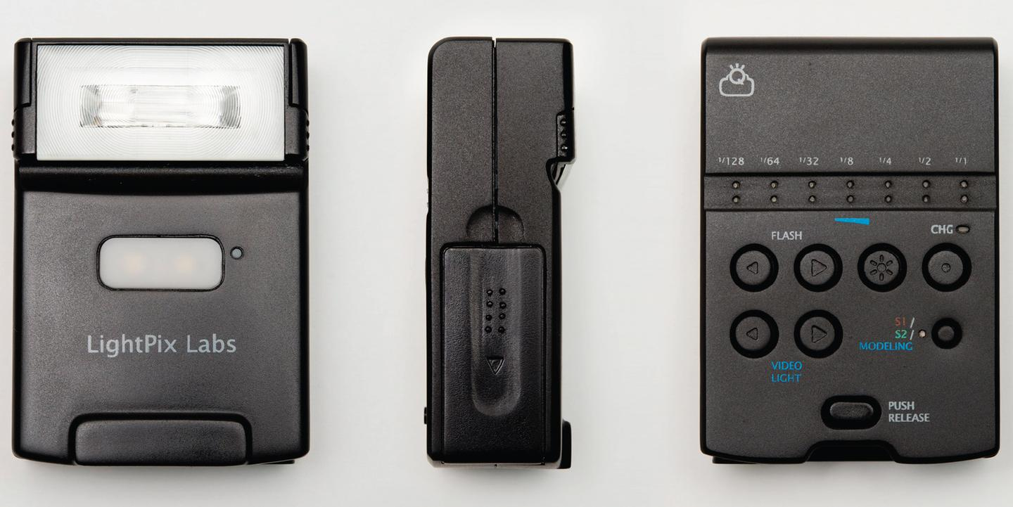 The FlashQ Q20 is a compact flash unit with a built-in detachable wireless controller