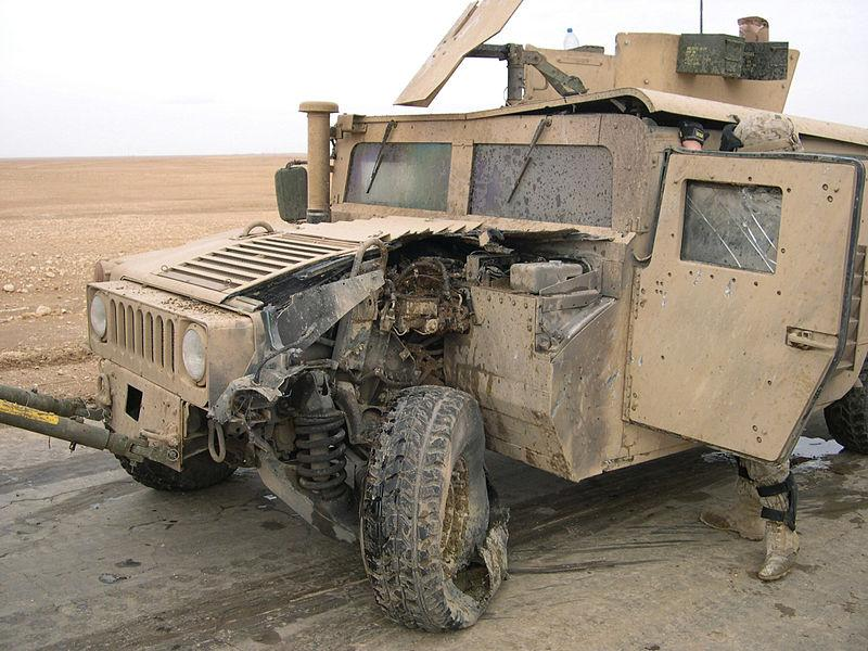 A Humvee that ran over a mine in Iraq