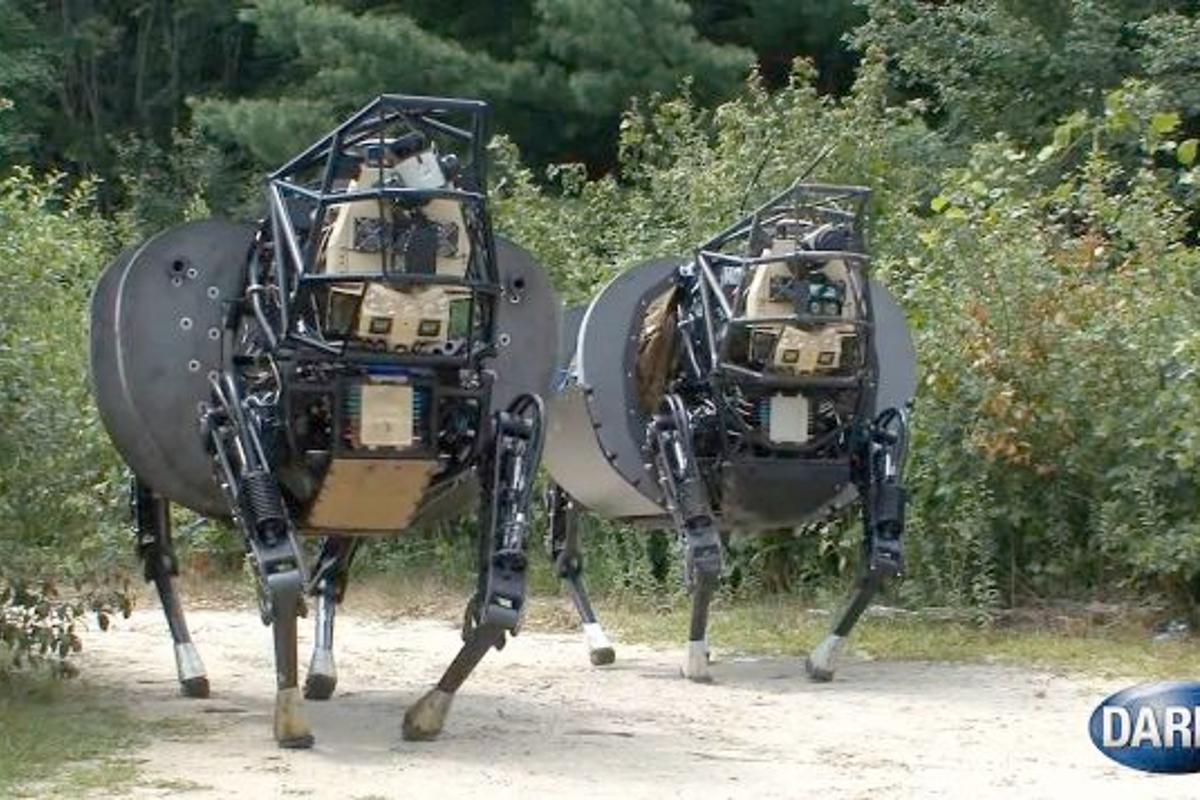 The two new LS3 prototypes, showing their stuff in DARPA's video