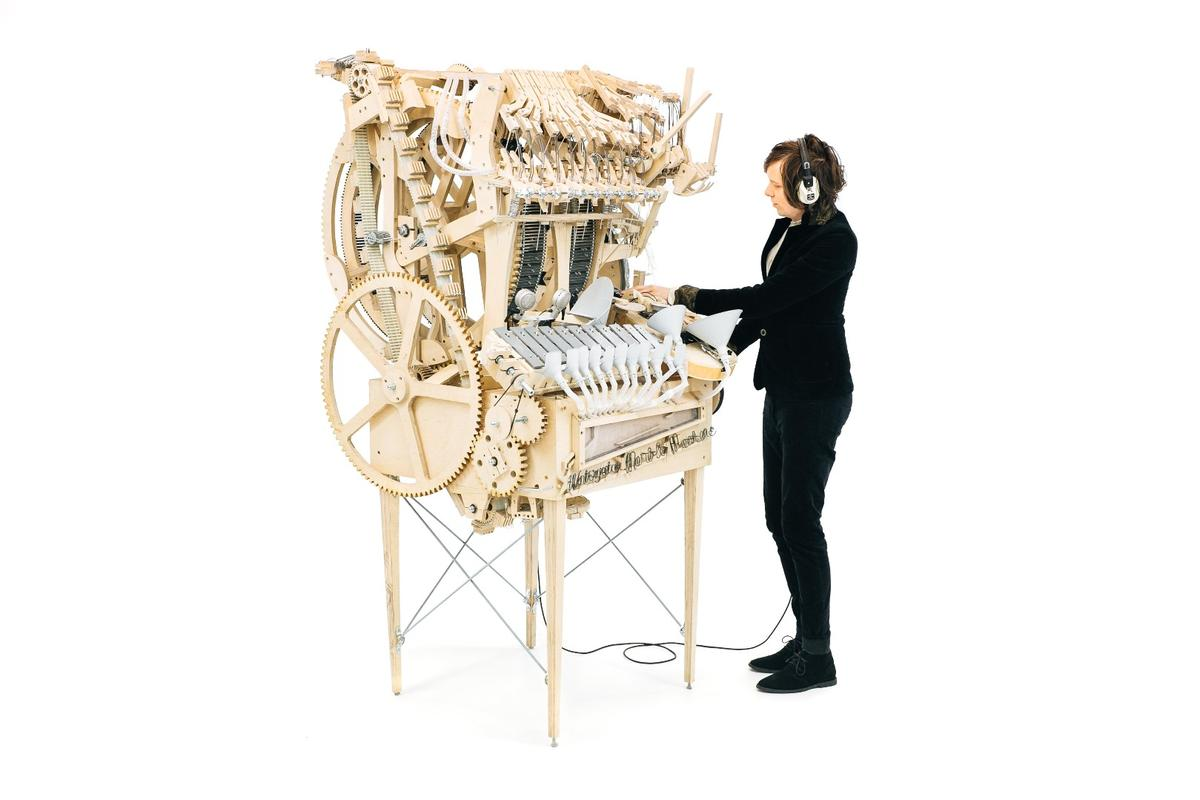 Martin Molin with his magnificent Musical Marble Machine