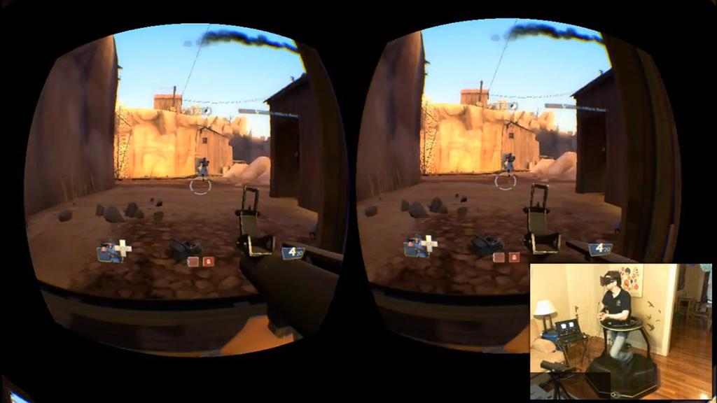 Team Fortress 2 being played while using the Omni and an Oculus Rift