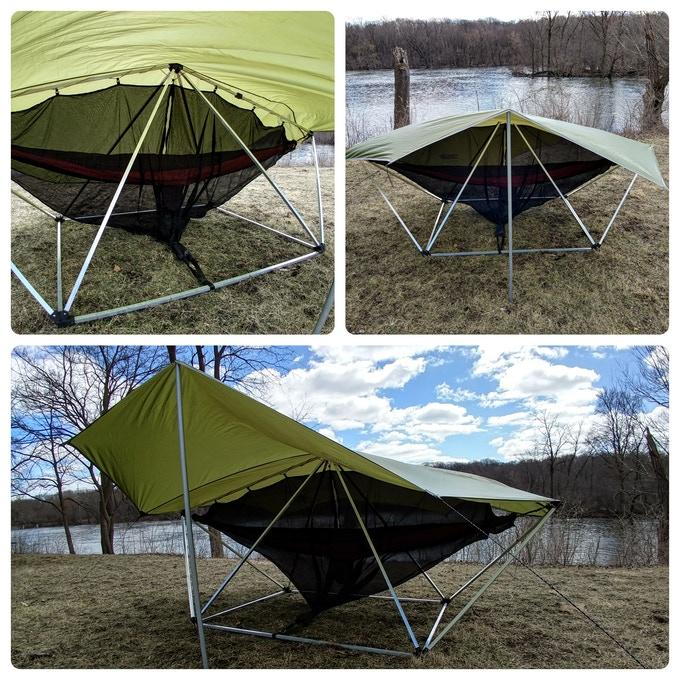 The Hang Solo is made by Thunder Domes, a startup that specializes in larger geodesic domes so groups of hammocks can hang together