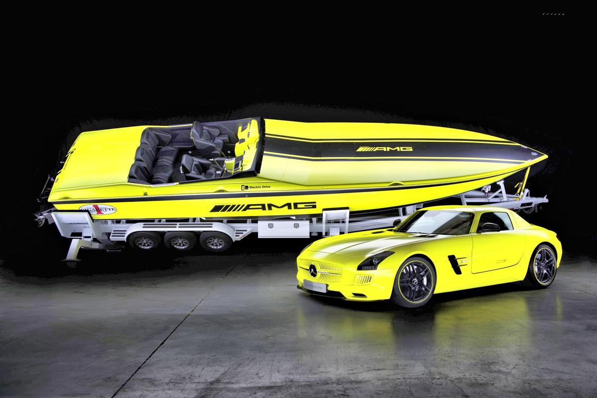 AMGCR Electric Top Gun together with the Mercedes-Benz SLS AMG Coupe Electric Drive in yellow AMG electricbeam magno finishes