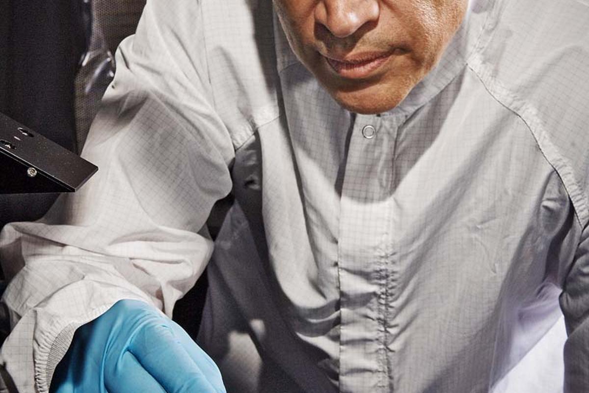 Principal Investigator John Hagopian and his team have developed a new technique to apply a super-black nanotech-based material to 3D components (Photo: NASA Goddard/Chris Gunn)