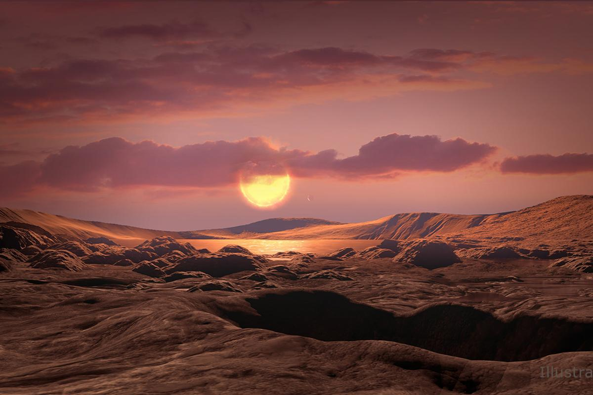This artist's concept shows what exoplanet Kepler-1649c could look like on its surface