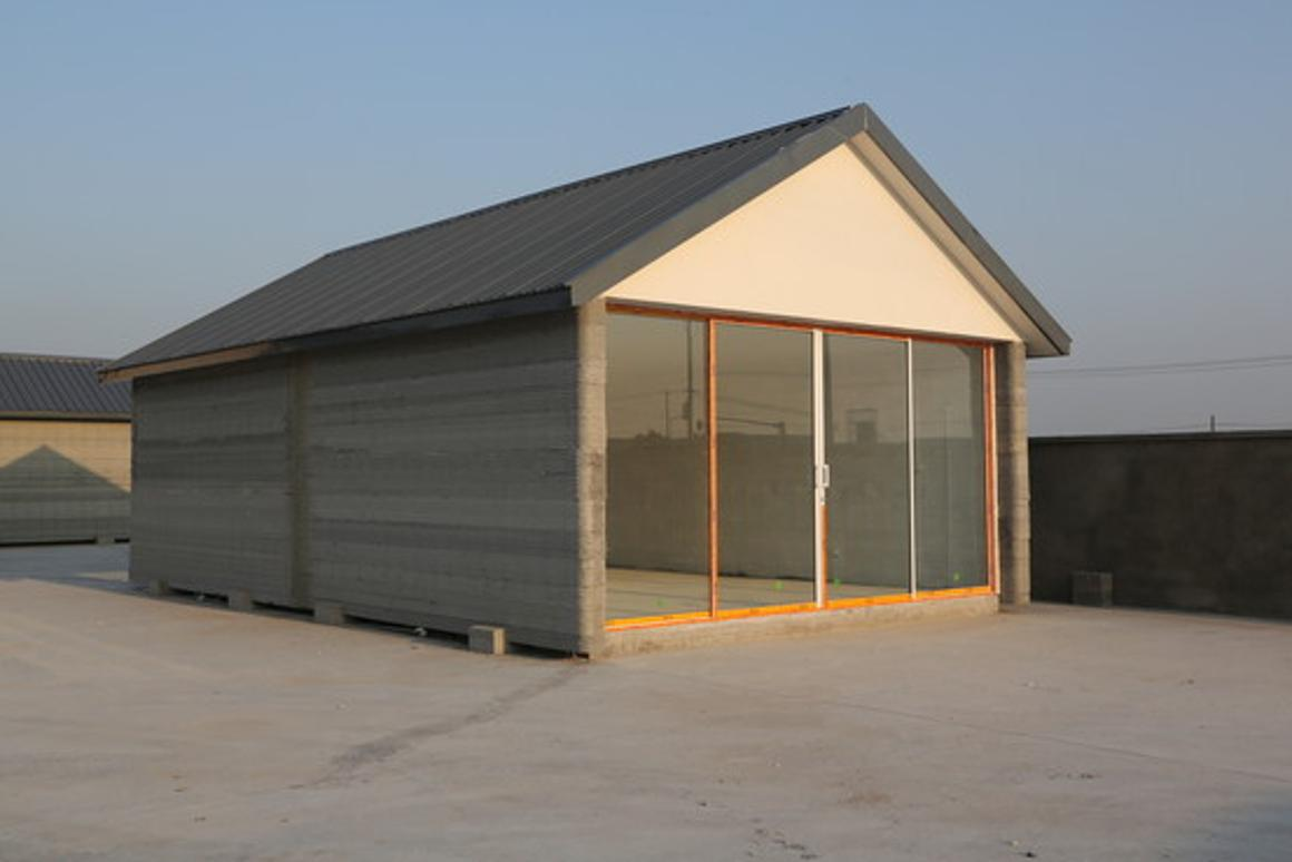 Small home constructed from 3D-printed building blocks (Image: Winsun New Materials)