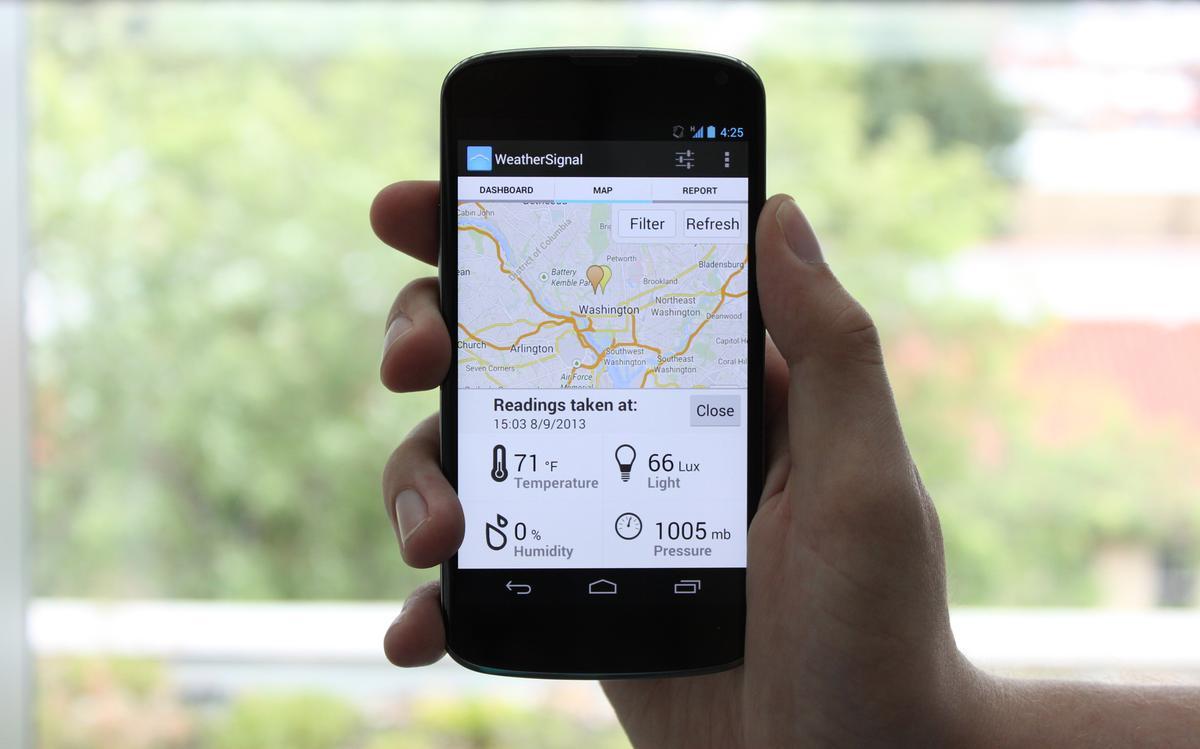 A phone running OpenSignal's WeatherSignal app