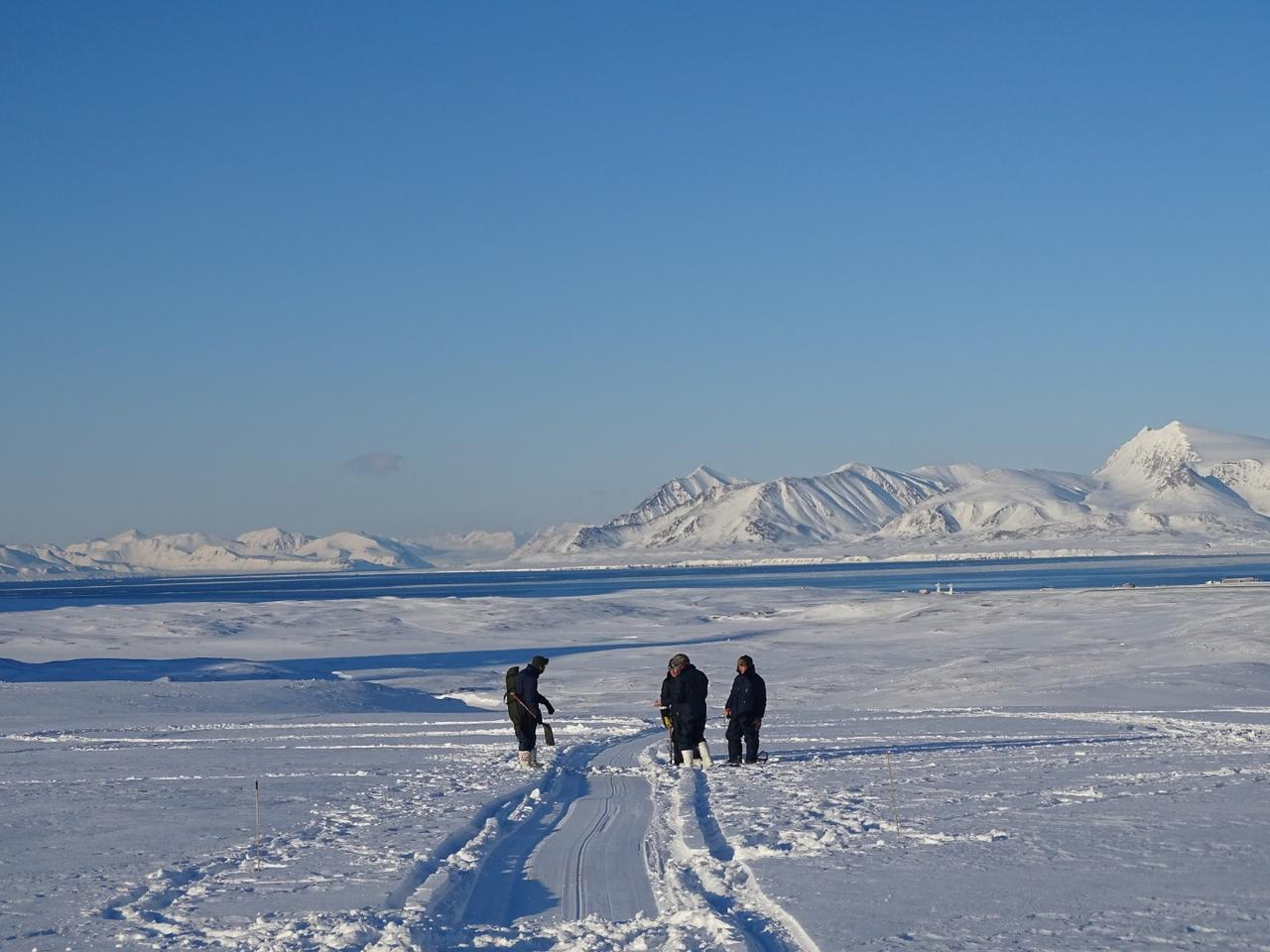 """University of Manchester scientists and BAS engineer test the """"metal detector""""technology adjacent to Ny-Ålesund Station in Svalbard"""